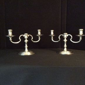 Lot 008  Tiffany and Co Silver Candelabras 6in Tall  ITEMS CAN BE PICKED UP IN RVC
