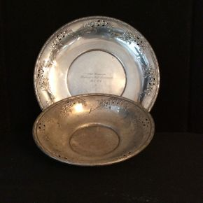 Lot 023 Wallace Sterling Silver Bowl 10.5in and Underplate 13in With Dedication  ITEMS CAN BE PICKED UP IN RVC
