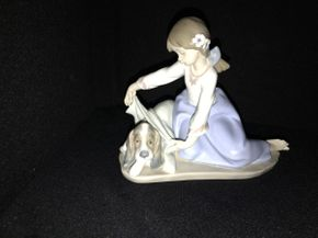 Lot 007 Lladro Dogs Best Friend with Girl 5688ITEM CAN BE PICKED UP IN JERICHO