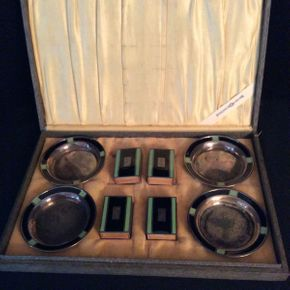 Lot 011 Sterling Silver and Enamel Smoking Set  ITEMS CAN BE PICKED UP IN RVC