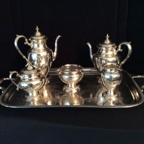 Lot 009 Gorham Silver Plated Tea Service and Platter 27x16 3/4 Teapots 11in and 9in  ITEMS CAN BE PICKED UP IN RVC