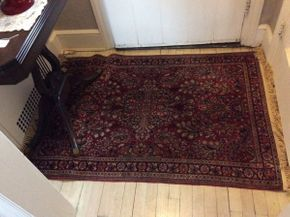 Lot 015 Handmade Sarouk Rug Fringe Replaced 39x59  ITEMS CAN BE PICKED UP IN RVC