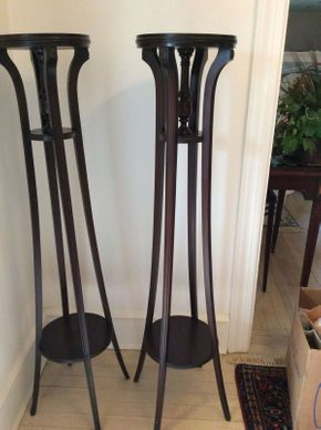Lot 016 Pair of Mahogany Plant Stands 47.5in Tall  ITEMS CAN BE PICKED UP IN RVC