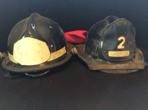 Lot 034 Pair of Vintage Fire Department Helmets ITEMS TO BE PICKED UP IN WEST HEMPSTEAD