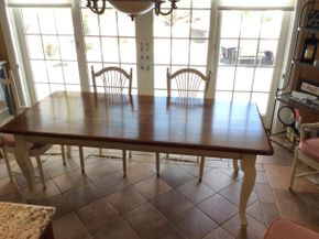 Lot 026 Custom Made Two Tone Kitchen Table 84x39.5x31  ITEMS TO BE PICKED UP IN EAST HILLS