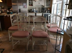 Lot 027 Lot of 6 Custom Made Kitchen Chairs With Pads 4 Side and 2 Arm 42in  ITEMS TO BE PICKED UP IN EAST HILLS