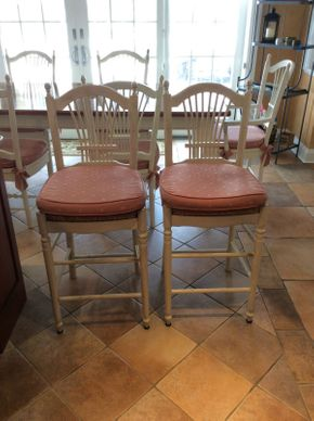 Lot 028 Lot of 2 Counter Top Stools With Pads 43in High  ITEMS TO BE PICKED UP IN EAST HILLS