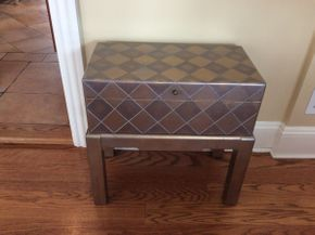 Lot 031 Decorative Bombay Chest with Stand 2 pieces, Top is Removable 22x22x12   ITEMS TO BE PICKED UP IN EAST HILLS