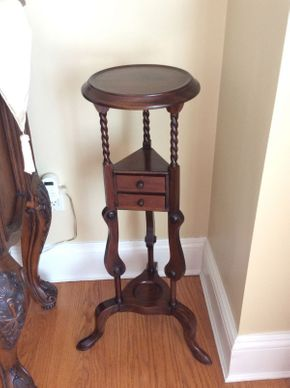 Lot 033 Mahogany Plant Stand with 2 Small Drawers 35.5in Tall  ITEMS TO BE PICKED UP IN EAST HILLS