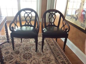 Lot 038 Pair of Mahogany and Leather Rolling Chairs Baker? 36x23x19.5   ITEMS TO BE PICKED UP IN EAST HILLS