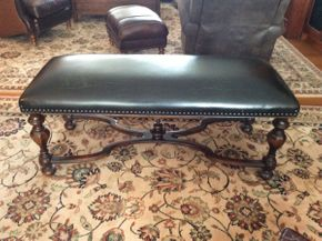 Lot 039 Mahogany and Leather Custom Made Bench 51x19x21  ITEMS TO BE PICKED UP IN EAST HILLS