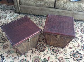 Lot 041 Pair of Milling Road Rattan and Leather Storage Chests with Latches 18x18.5   ITEMS TO BE PICKED UP IN EAST HILLS