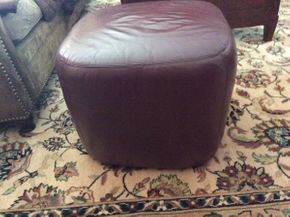 Lot 044 Maurice Villency Leather Ottoman 17x20x20  ITEMS TO BE PICKED UP IN EAST HILLS
