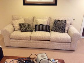 Lot 046 Excellent Condition Maurice Villency Three Seat Sofa With Pillows 87x28x37  ITEMS TO BE PICKED UP IN EAST HILLS