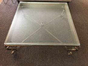 Lot 032 Metal Framed Coffee Table with Glass Top ITEM CAN BE PICKED UP IN GARDEN CITY