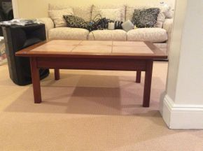Lot 050 Custom Made Tile and Wood Coffee Table 42.5x30.5x17  ITEMS TO BE PICKED UP IN EAST HILLS
