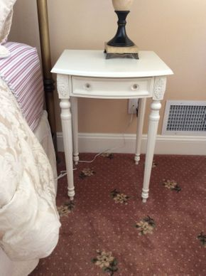 Lot 055 Wood Carved White End Table 28.4x18x20 1/4  ITEMS TO BE PICKED UP IN EAST HILLS