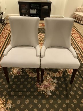 Lot 037 Lot of two Safavieh Upholstered Chairs ITEMS CAN BE PICKED UP IN GARDEN CITY
