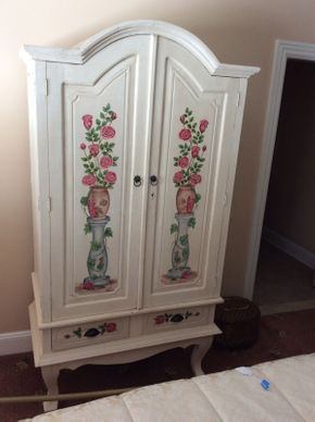Lot 052 White Hand Painted Armoire with 2 Doors and 2 Draws 80x40x22 3/4  ITEMS TO BE PICKED UP IN EAST HILLS