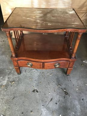 Lot 044 Tomlinson Wood End Table W/ Glass ITEM CAN BE PICKED UP IN GARDEN CITY