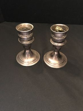 Lot 003 Pair of Sterling Silver Gorham Candle Stick Holders 5 inches Tall PICK UP IN NORTH BELLMORE