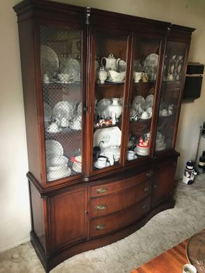 Lot 006 Basset Mahogany China Cabinet with 3 Drawers approx 76H x 14.5W x 61.5 L PICK UP IN NORTH BELLMORE