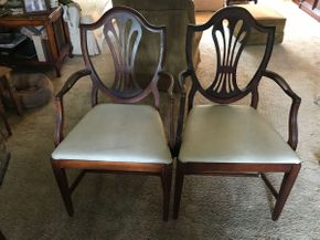 Lot 007 Pair Of Shield Back Style Diningroom Arm Chairs 38.25 H x 21.5L x 18W PICK UP IN NORTH BELLMORE