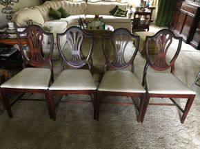 Lot 008 Lot Of 4 Shield Back Style Dining Room Side Chairs 37.5H x 17 W x 20L PICK UP IN NORTH BELLMORE