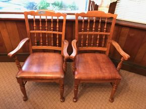 Lot 002 Lot of Two Spindle Backed Arm Chairs -  Approx 37.5H X 19.5W X 20 L. Rips On Cushions. PICK UP IN LAKE GROVE.
