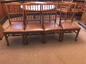 Lot 003 Lot of Four Ethan Allen Spindle Backed Armless Chairs. Approx 37.5H X 18W X 18.5L. PICK UP IN LAKE GROVE
