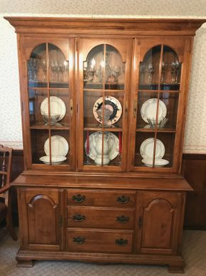 Lot 004 Ethan Allen China Cabinet With Three Drawers. Approx 78.5H X 14.5 W X 56 L. PICK UP IN LAKE GROVE