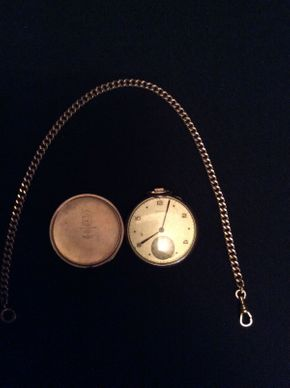 Lot 053 Gold Plated Pocket Watch and Chain Working Face Approx 2in Diameter By Avalon ITEMS TO BE PICKED UP IN GARDEN CITY