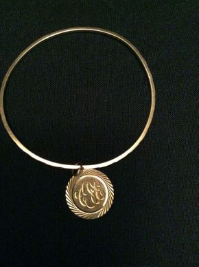 Lot 056 14K Gold Bangle Bracelet with Initial Charm 6 DWT ITEM CAN BE PICKED UP IN GARDEN CITY