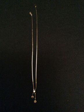 Lot 058 14K Gold Necklace with Heart Charms 15 3/4in Long 1 DWT ITEM TO BE PICKED UP IN GARDEN CITY