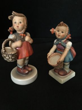 Lot 017 Lot of Two Hummels. Little Girl With Basket 4 Inches Tall. Girl With Basket MI 4.75 Inches Tall. PICK UP IN LAKE GROVE.