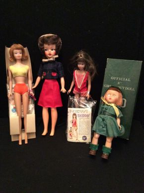 Lot 069 Lot of 4 Vintage Dolls Including Barbie, Skipper and Girl Scout ITEM TO BE PICKED UP IN GARDEN CITY
