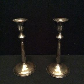Lot 070 Pair of Sterling Silver Candle Stick Holders Approx 8in Tall ITEM TO BE PICKED UP IN GARDEN CITY