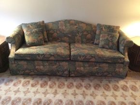 Lot 002 Upholstered Sofa with Pillows  ITEM CAN BE PICKED UP IN GARDEN CITY