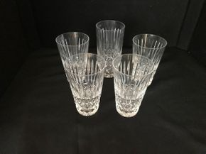 Lot 025 Lot of Five Waterford Water Glasses. Four Glasses 5 Inches Tall. One 5.75 Inches Tall. PICK UP IN LAKE GROVE