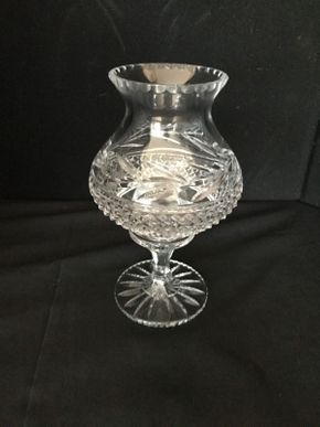 Lot 027 Waterford Hurricane Lamp. 9.25 Tall PICK UP IN LAKE GROVE.