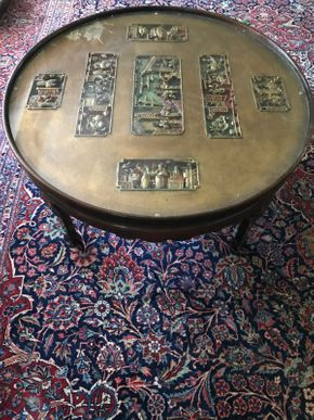 Lot 006 Carved Guilded Asian Coffee Table 38 Inches in Diameter 18.5 Inches Tall PICK UP IN GARDEN CITY