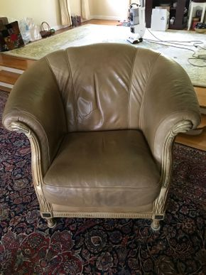 Lot 011 Leather and Wood Bucket Chair AS IS Some Scratches 33H x 40W x 41L PICK UP IN GARDEN CITY