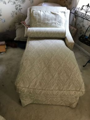Lot 010 Upholstered Chaise Lounge Chair 34Hx 31W x 59L AS IS Some Stains PICK UP IN GARDEN CITY