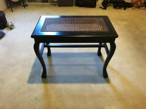 Lot 003 Small Wood and Caned   Bench As Is With Some Scratches 17.5H x 14W x 24L PICK UP IN GARDEN CITY