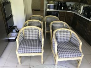 Lot 004 Lot Of 6 Rattan And Upholstered Chairs 32H x 26L x 29W PICK UP IN GARDEN CITY