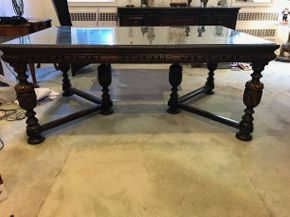 Lot 013 Berkey and Gay Carved Wood Pub Table With Glass Top 31H x 46W x 72L PICK UP IN GARDEN CITY
