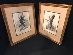 Lot 016 Pair Of Honore Daumier Framed Prints 16.75 X 14.75 PICK UP IN GARDEN CITY