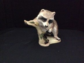 Lot 021 1965 Cybis Raffles The Raccoon Porcelain Raccoon ITEM TO BE PICKED UP IN GARDEN CITY