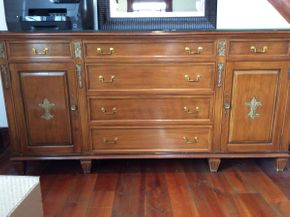 Lot 025 Vascimini Brothers Inc. 6 Drawer Buffet with Custom Glass Top ITEM CAN BE PICKED UP IN ATLANTIC BEACH