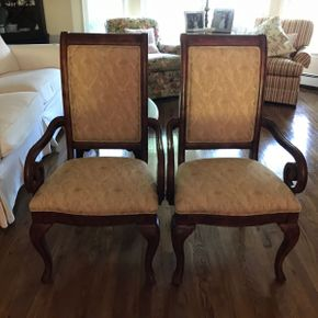 Lot 031 Lot Of Two Upholstered Arm Chairs. Approx 42.5H X 21.5W X 24.75L. PICK UP IN HUNTINGTON